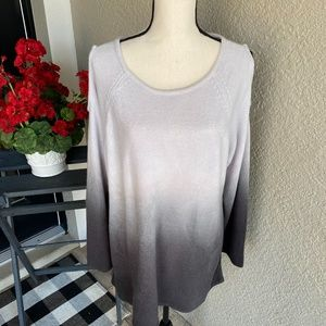 Westbound Plus Size Cold Shoulder Ombre Sweater